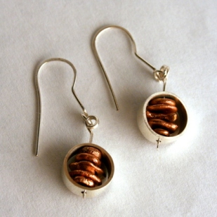 Copper stack earrings; copper, sterling silver
