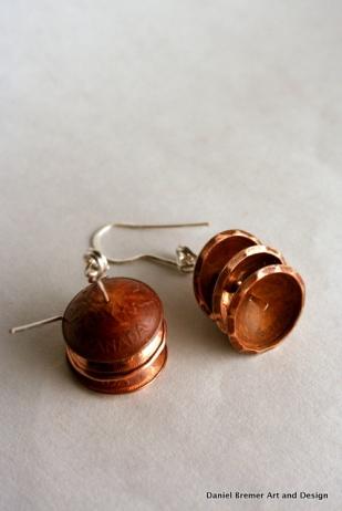Penny earrings; copper, sterling silver
