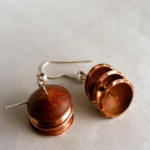 Penny earrings; copper, sterling silver