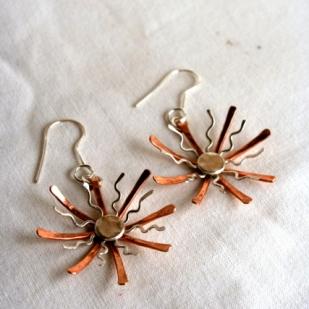 Starshine earrings; copper, sterling silver