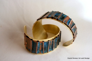 Blue Ripple Cuff, copper, brass, sterling silver
