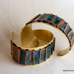 Blue Ripple Cuff, copper, brass, sterling silver