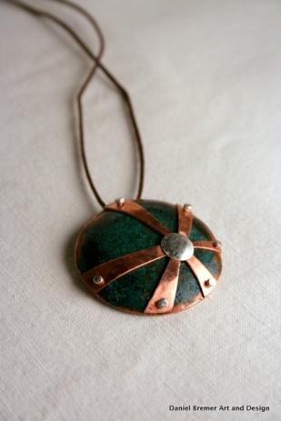 Star burst Pendant; copper, sterling silver