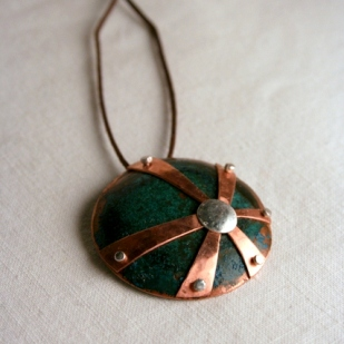 Star burst Pendant; copper, sterling silver
