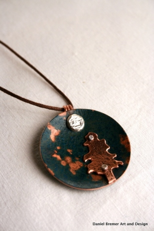 Tree moon pendant; copper, sterling silver