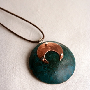 Eclipse pendant; copper, sterling silver