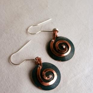 Spiral earrings; copper, sterling silver