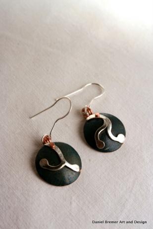 Root earrings; copper, sterling silver