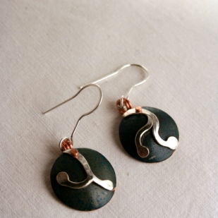 Root earrings; copper, sterling silver