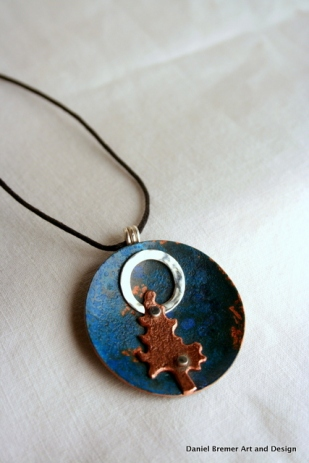 Moon tree Pendant; copper, sterling silver