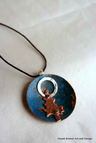 Moon tree Pendant; copper, sterling silver