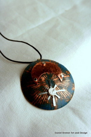Star moon pendant; copper, sterling silver
