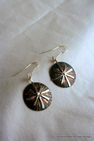 Star earrings; copper, sterling silver