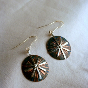 Star earrings; copper, sterling silver