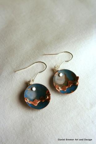 Stream earrings; copper, sterling silver