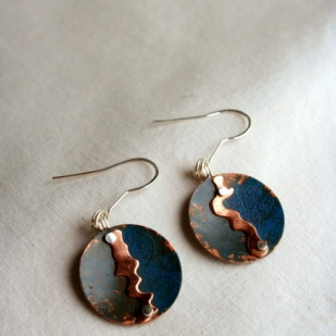 Stream earrings; copper, sterling silver
