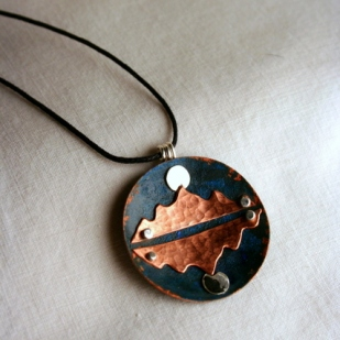reflection pendant; copper, sterling silver