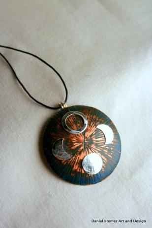 Moon pendant; copper, sterling silver