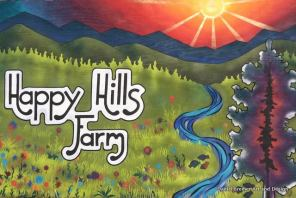 Happy Hills Farm sign 6ft x4ft spray paint on plywood