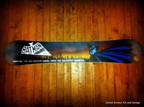 Batman; spray paint on snowboard